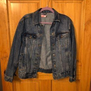 Oversized medium wash jean jacket